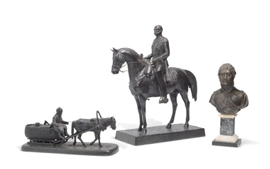 A CAST-IRON MODEL OF NICHOLAS I, A CAST-IRON MODEL OF A HORSEDRAWN SLED, A BRONZE BUST OF ALEXANDER I, THE CAST-IRON MODELS, BY THE KASLI FACTORY, LATE 19TH / EARLY 20TH CENTURY; THE BRONZE BUST, RUSSIA, 19TH CENTURY