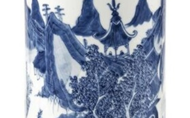 A CYLINDRICAL BLUE AND WHITE PORCELAIN LANDSCAPE VASE, China, late Qing/Republic period - H. 29 cm