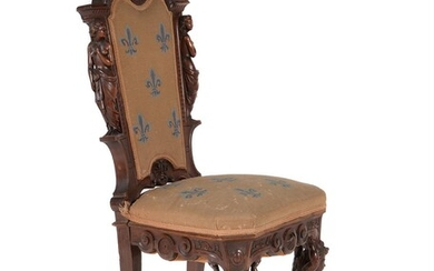 A Continental carved walnut and upholstered side chair
