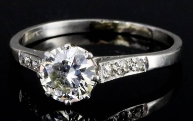 A Diamond Ring, Modern, in platinum mount, set with...