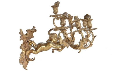 A French gilt bronze five branch figural wall light