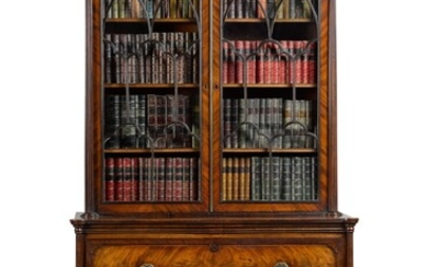A GEORGE III EBONY AND BOX WOOD STRUNG MAHOGANY SECRÉTAIRE-BOOKCASE, CIRCA 1800, ATTRIBUTED TO GILLOWS