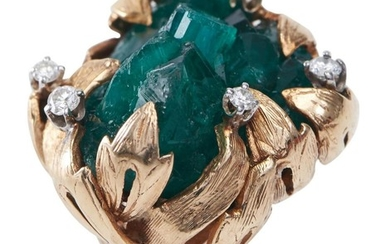 A GILSON EMERALD AND DIAMOND COCKTAIL RING-The hand crafted freeform design, featuring a central cluster of Gilson emerald crystals,...