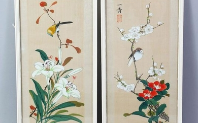A GOOD PAIR OF CHINESE SCHOOL PAINTINGS ON SILK, a bird