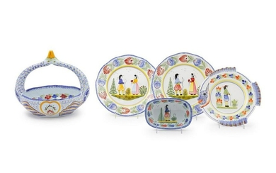 A Group of Six Quimper Faience Serving Pieces