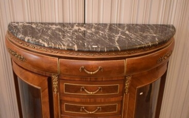 A LOUIS XV STYLE MARBLE TOPPED DEMILUNE DRESSER (107H X 130W X 56D CM) (PLEASE NOTE THIS ITEM MUST BE REMOVED BY CLIENTS OR CARRIERS...