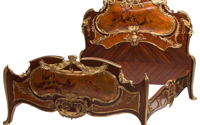 A Louis XV-Style Gilt Bronze Mounted Mahogany and Kingwood Bed After François Linke with Painted Panels