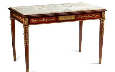 A Louis XVI Style Gilt Bronze Mounted Mahogany Marble-Top Center Table