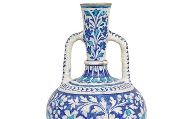 A Multan pottery water bottle (surahi), North India, 19th Century