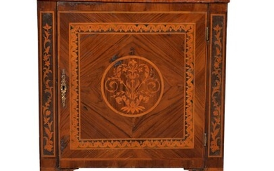 A North Italian figured walnut and marquetry commode