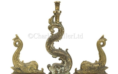 A PAIR OF ADMIRALTY PATTERN DECORATIVE BRASS DOLPHINS FOR...