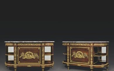 A PAIR OF FRENCH ORMOLU-MOUNTED MAHOGANY COMMODES A L'ANGLAISE, LATE 19TH CENTURY
