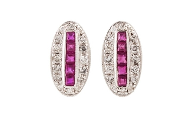 A PAIR OF RUBY AND DIAMOND CLUSTER EARRINGS, of oval form, t...
