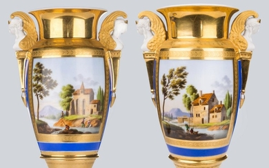 A Pair of Empire Paris Porcelain Vases Decorated with Landscapes.