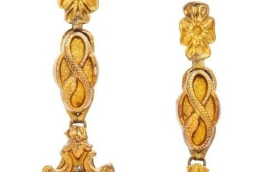 A Pair of Victorian Yellow Gold and Amethyst Screwback