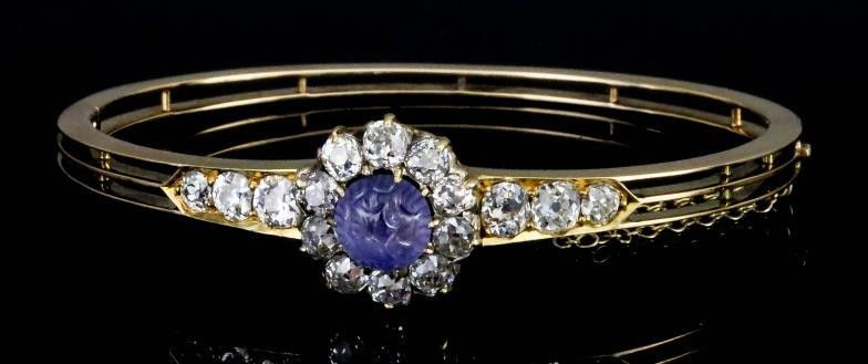 A Sapphire and Diamond Stiff Bracelet, 20th Century, in...