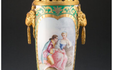 A Sevres-Style Covered Urn with Gilt Bronze Mounts (19th century)