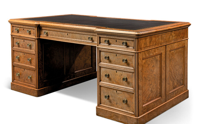A VICTORIAN BURR-WALNUT PARTNERS' PEDESTAL DESK