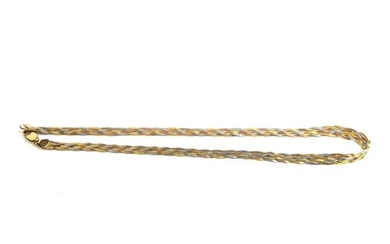 A VINTAGE 9CT TRICOLOUR GOLD NECKLACE Fine woven links with ...