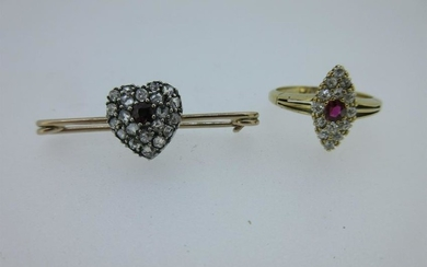 A Victorian diamond and ruby navette ring and a diamond