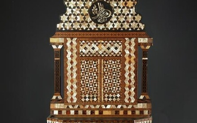 A WOODEN MOTHER-OF-PEARL INLAID TURAN HOLDER, 19TH