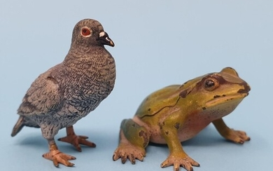 A cold painted bronze pigeon, 4 cm high, and a cold painted ...
