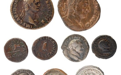 A collection of Ancient Roman coins, including; Roman Imperial Coinage, Claudius, Quadrans, Rome, 41, hand holding scales, p n r between pans, rev. large s c, 3.32g (RIC 85). near very fine; Vitellius, Denarius, Rome, July-December 69, laureate bust...