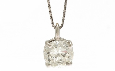 A diamond necklace set with a brilliant-cut diamond, app. 2.03 ct., mounted in 18k rhodium plated gold, on an 18k white gold necklace. L. app. 42 cm. (2)