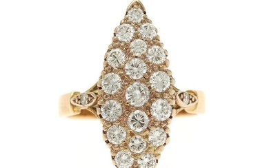 A diamond ring set with numerous brilliant-cut diamonds totalling app. 1.60 ct., mounted in 18k gold. Size 58.