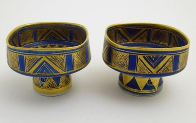A matched pair of studio pottery footed squared bowls /