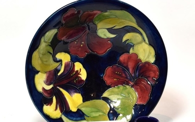 A modern Moorcroft Hibiscus bowl, together with a small Moorcroft...
