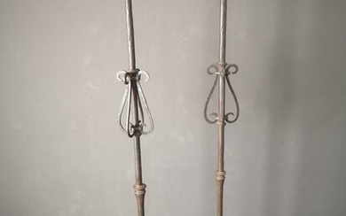 A pair of tall candelholders (2) - Iron (cast/wrought) - 18th/19th century