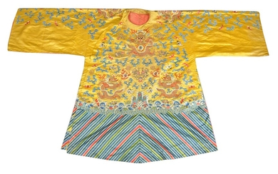 A rare Chinese yellow silk 'Imperial Court Opera' theatrical dragon robe