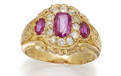 A ruby and diamond cluster ring, the...