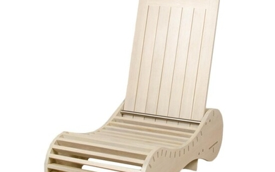 TRANSMORPHIC SLATTED LOUNGE CHAIR AND TABLE