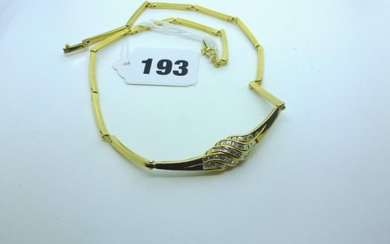 A stylish 18 ct yellow gold and diamond necklet,...
