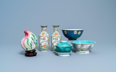 A varied collection of Chinese famille rose and monochrome wares, 19/20th C.