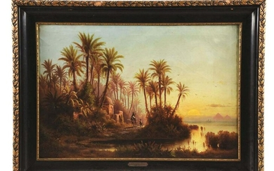 ALBERT REIGER (AUSTRIAN, 1834 - 1905) ON THE NILE.