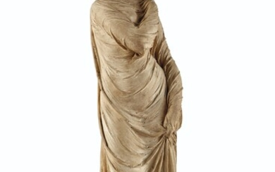 ATTRIBUTED TO ALBERT-ERNEST CARRIER-BELLEUSE (FRENCH, 1824-1887), MID-19TH CENTURY, A TERRACOTTA FIGURE OF A VEILED WOMAN