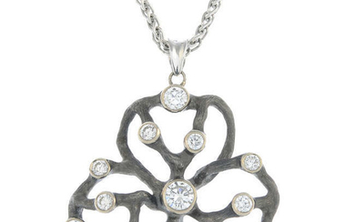 An 18ct gold brilliant-cut diamond stylised clover pendant, with chain.