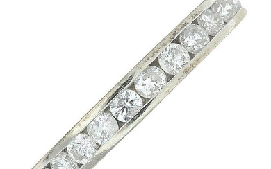 An 18ct gold diamond half eternity ring.Estimated total