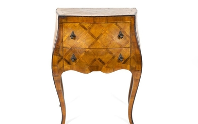 An Italian Rococo Style Parquetry Bombe Side Table
