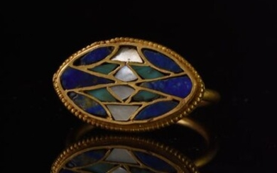 Ancient Egyptian Gold Ring with Lapis, Emerald and Pearl