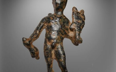 Ancient Roman Bronze Figurine of Mercury (Hermes), wearing winged hat-Petasus&Purse (as God of Merchants&Trade)& Caduceus