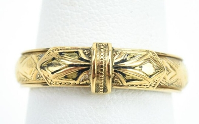 Antique 19th C Gold & Woven Hair Ring