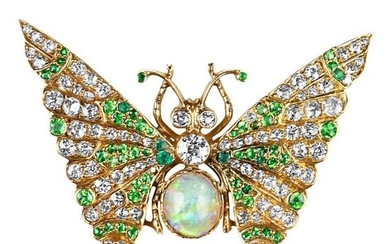 Antique Gold, Opal, Diamond and Demantoid Garnet Butterfly Brooch