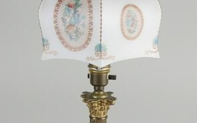 Antique brass table lamp with painted glass shade.&#160
