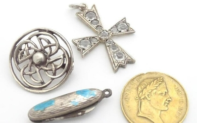 Assorted items including a silver brooch hallamrked