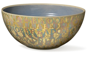 Bo Kristiansen: A large stoneware bowl, exterior with incised letters in relief. Unsigned. Unique. H. 22 cm. Diam. 49 cm.
