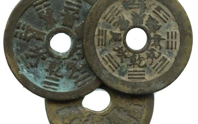 CHINA Qing, Charms coins, with Ba-Gua in front &